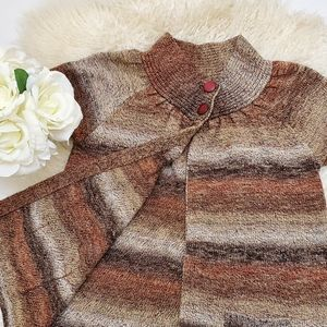 Women's Petite Brown Striped Cardigan With Pockets